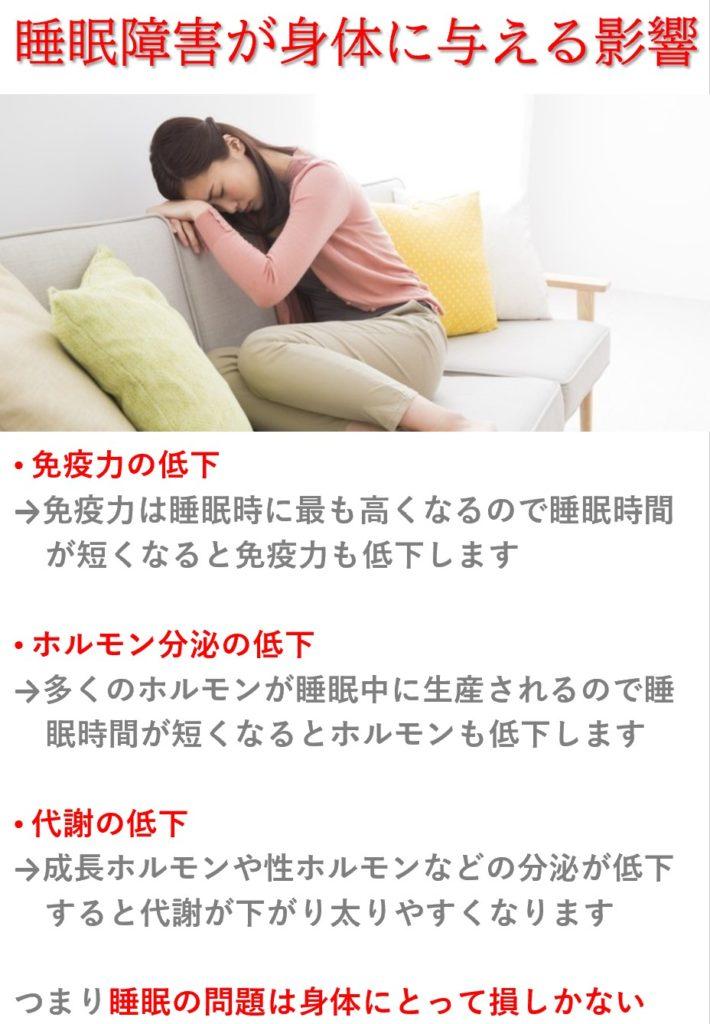 睡眠障害が身体に与える影響:免疫力低下・ホルモン量低下・代謝低下